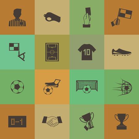 Retro style Soccer football icons set. Vector