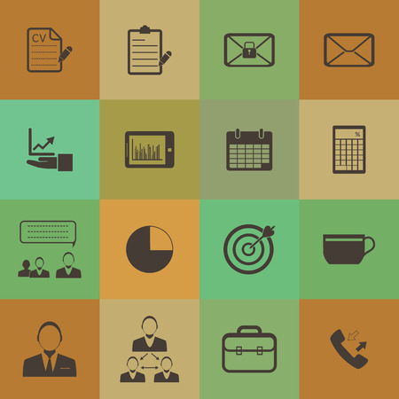 Retro style Business and office icons set. Vector
