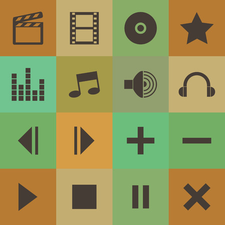 Retro style media player icons set. Vector