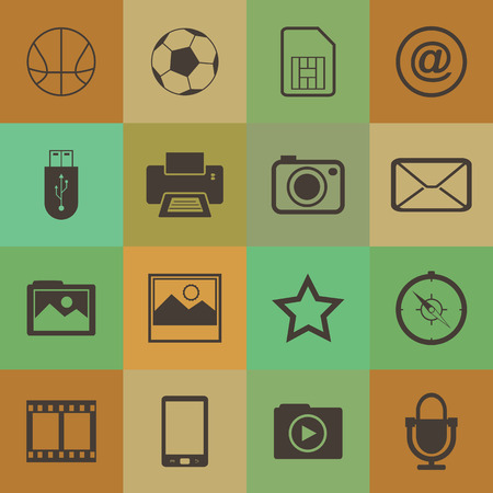 Retro style  mobile phone icons connection set. Vector