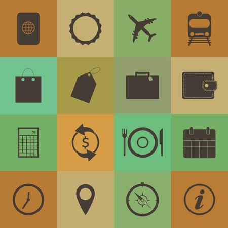 Retro style Travel Icons set. Vector