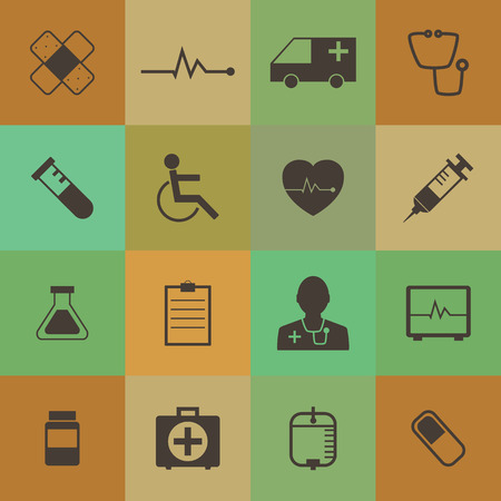Retro style  Medical Icons set. Vector