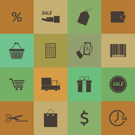 Retro style Shopping icons set set. Vector