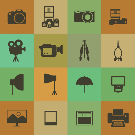 Retro style Camera and accessory icons set. Vector