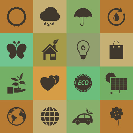 Retro style Eco icons set. Vector