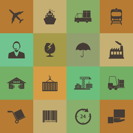 Retro style Logistics icons set. Vector