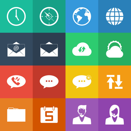 clock icon: Flat Color style mobile phone icons network icons vector set.