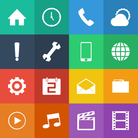 Flat Color style mobile phone icons vector set. Vector