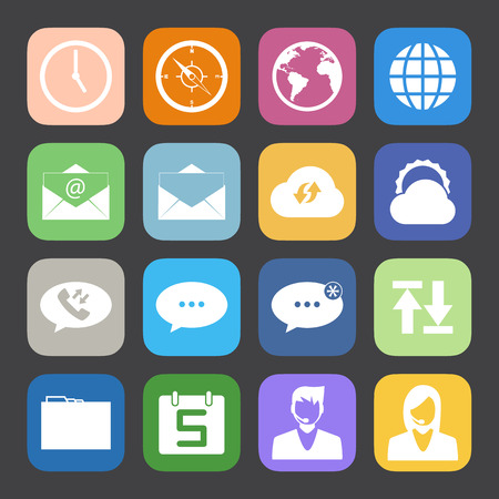 Flat Color style mobile phone icons network icons vector set. Vector