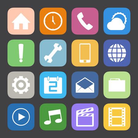 conection: Estilo Mate Color iconos de tel�fono m�vil conjunto de vectores.