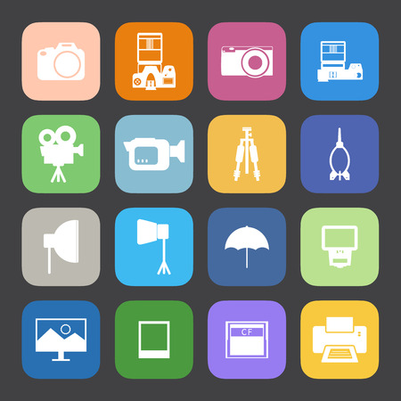 Flat Color style Camera and accessory icons vector set. Illustration