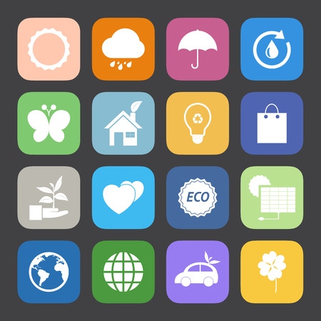 Flat Color style Eco icons vector set. Vector