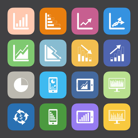 Flat Color style Business Graph icon vector set. Vector