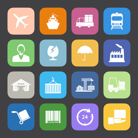 Flat Color style Logistics icons vector set. Vector