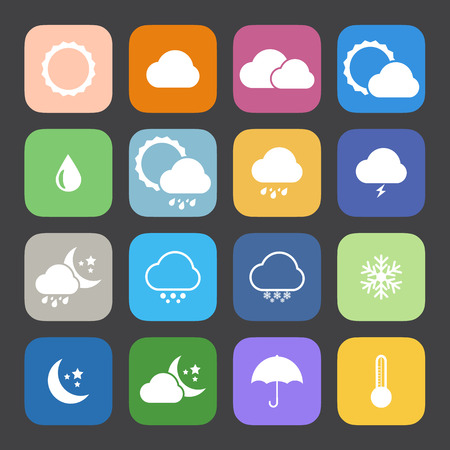 Flat Color style weather icon vector set. Vector