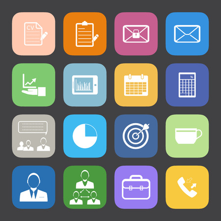 Flat Color style Business and office icons vector set. Vector