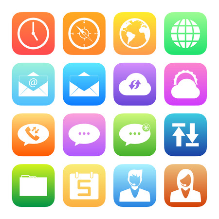 call log: Colorful icons mobile phone and network vector set. Illustration