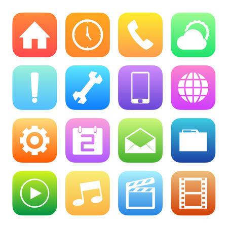 conection: Colorful style mobile phone icons vector set. Illustration