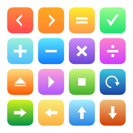 addition: Colorful style calculator and computer icons vector set.
