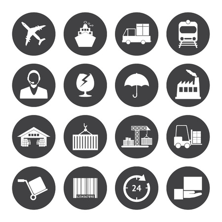 cargo plane: Black and White Logistics icons