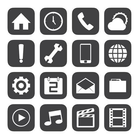 conection: Iconos m�viles Blanco y Negro establecen
