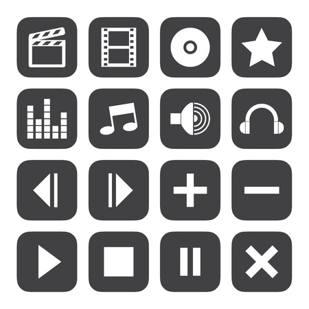 portable player: Black and White media player icons