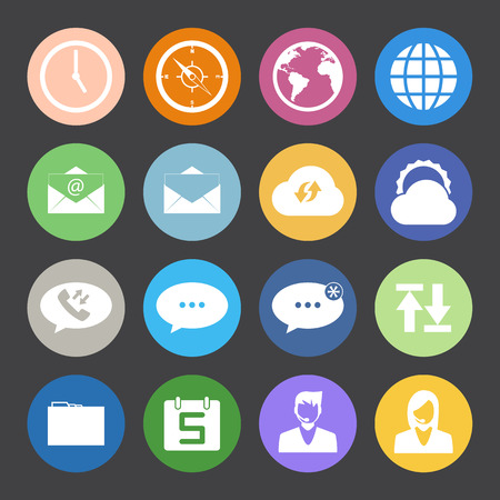 call log: Flat Color style mobile phone icons network icons set. Illustration