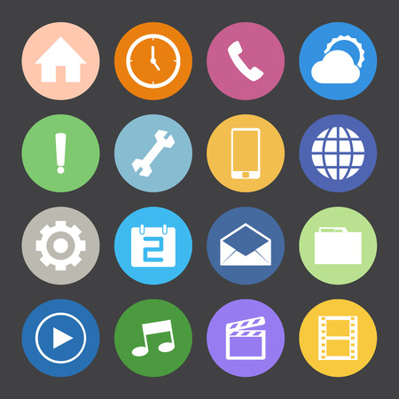 Flat Color style mobile phone icons set. Vector