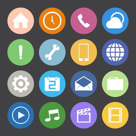 conection: Iconos del tel�fono m�vil de estilo de color Flat establecen.