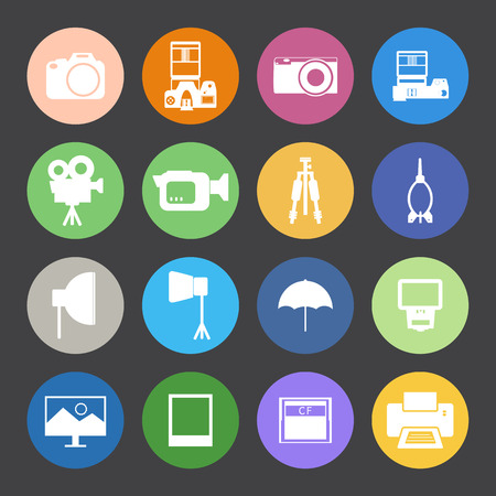 Flat Color style Camera and accessory icons set.