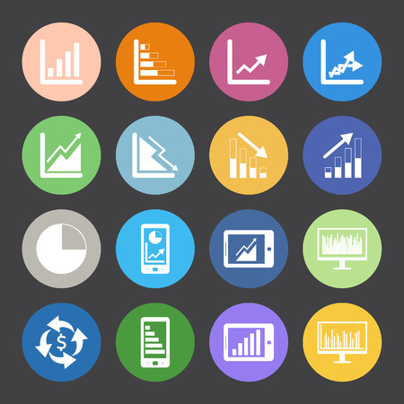 Flat Color style Business Graph icon vector set.