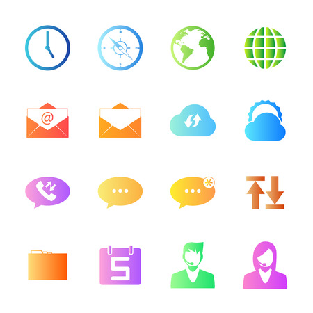 call log: Colorful icons mobile phone and network set.