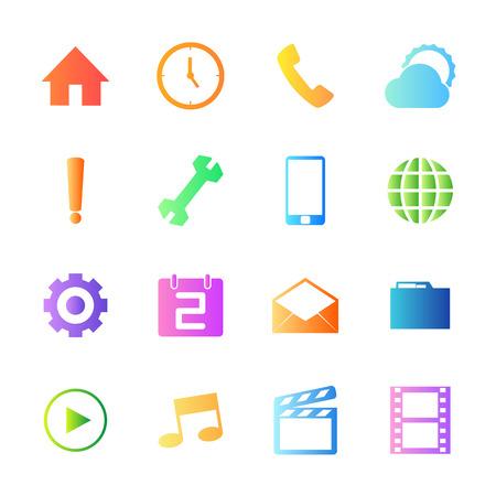 conection: Estilo colorido de tel�fono m�vil iconos conjunto de vectores.