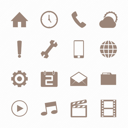 mobile icons: Mobile icons set , Brown color