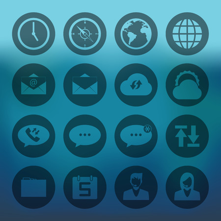 call log: Blue background with circle icons mobile phone connection set