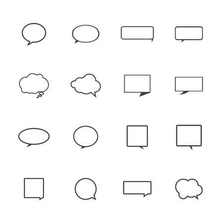 Tekstballon pictogrammen op witte achtergrond.