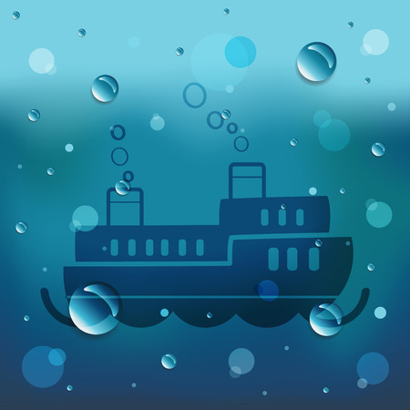Passenger boat on glass and water drop. Vector