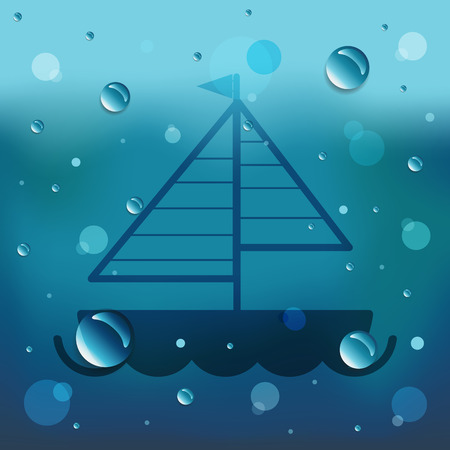 Sailboat boat on glass and water drop. Illustration
