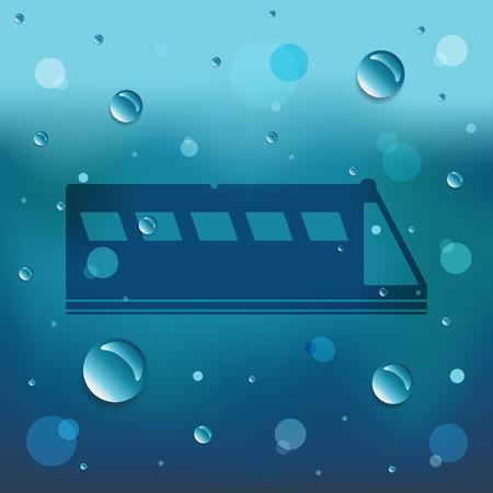 zug cartoon: Cartoon-Zug auf Glas- und Wassertropfen.