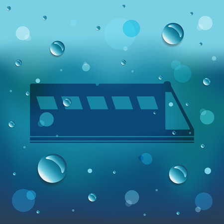 Cartoon Train on glass and water drop. Illustration