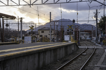 crater highlands: KAWAGUCHIKO,March 02:Kawaguchiko station with the veiw of fuji mountain on evening time, Japan, on March 02, 2015 Editorial