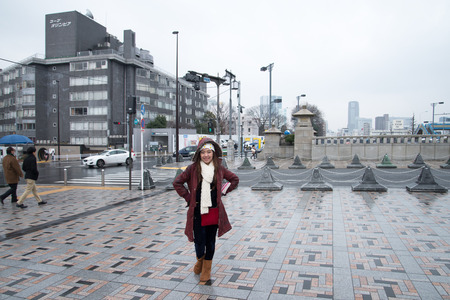 dori: TOKYO - March 01,2015 : People walk toward Yoyogi park near Harajuku train station on March 01,2015. Harajuku is known as a center of Japanese youth culture and fashion. Editorial