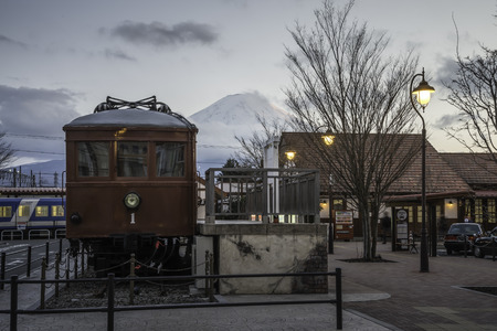 veiw: KAWAGUCHIKO,March 02:Kawaguchiko station with the veiw of fuji mountain on evening time, Japan, on March 02, 2015 Editorial