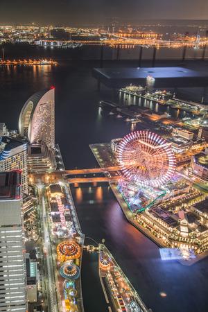 minato: Aerial night view of Yokohama Cityscape at Minato Mirai waterfront district.