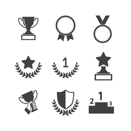 trophy winner: Trophy and awards icons set