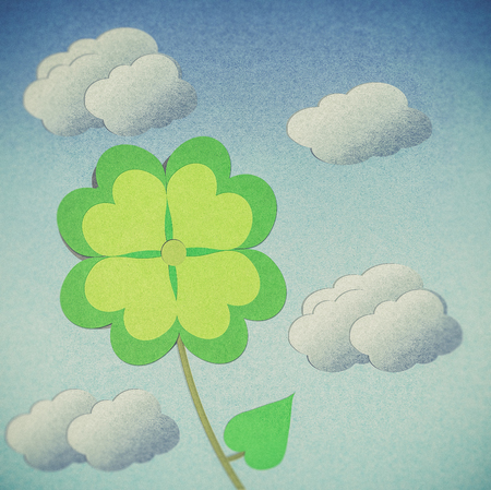recycle paper: recycle paper clover with four leaves on white background Stock Photo