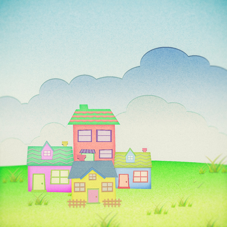 proprietary: house from recycle paper with grass field and sun set background Stock Photo