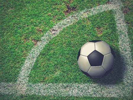 corner kick soccer: Soccer Ball on Corner Kick from top view