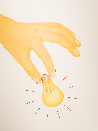 Paper texture ,  illustration of hand picking light bulb