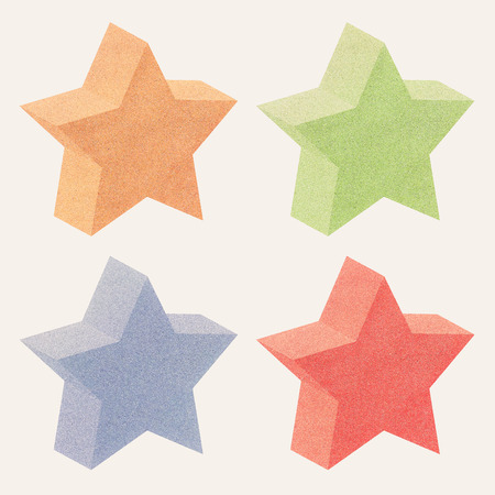 3d star: Paper texture,3D Star recycled paper on white background